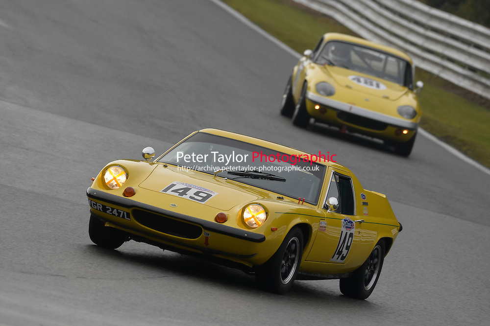 #149 Malcolm Johnson Lotus Europa 1558 during the CSCC Adams and Page Swinging Sixties at Oulton Park, Little Budworth, Cheshire, United Kingdom. October 15 2016. World Copyright Peter Taylor/PSP. <br /> Copy of publication required for printed pictures.  Every used picture is fee-liable. http://archive.petertaylor-photographic.co.uk