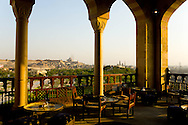 Egypt. Cairo - Muhammad ALI citadel mosque view from the Tartabush  cafe restaurant . Al Azhar Park in the old islamic city. project of the Aga Khan foundation.  +