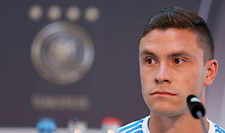 08.06.2015, Mercedes Benz Zenter, Koeln, GER, Nationalmannschaft, Pressekonferenz, im Bild Jonas Hector (1. FC Koeln) // during a press conference of the german national football team at the Mercedes Benz Zenter in Koeln, Germany on 2015/06/08. EXPA Pictures © 2015, PhotoCredit: EXPA/ Eibner-Pressefoto/ Schüler<br /> <br /> *****ATTENTION - OUT of GER*****