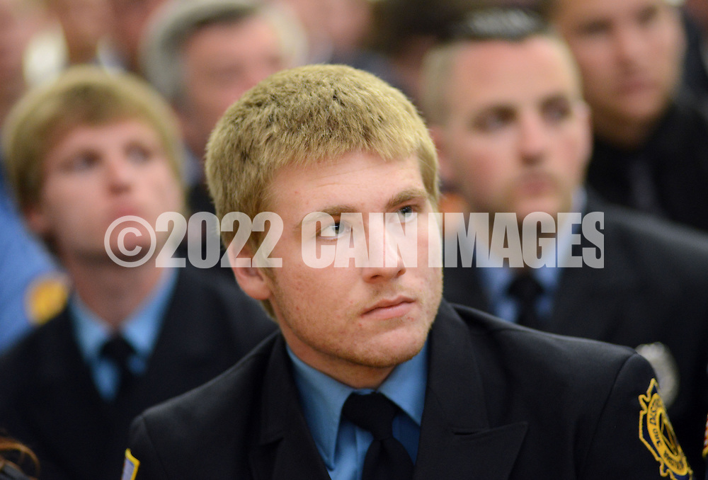 Michael P. Ferguson listens along with 100 firefighters as they graduate from the Bucks County Public Safety Training Center Tuesday May 19, 2015 at Bucks County Community College in Newtown, Pennsylvania. (Photo by William Thomas Cain/Cain Images)