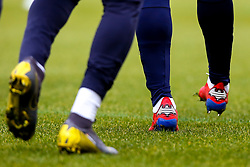 The boots of Michy Batshuayi of Crystal Palace with the Batman logo on it - Mandatory by-line: Robbie Stephenson/JMP - 17/02/2019 - FOOTBALL - The Keepmoat Stadium - Doncaster, England - Doncaster Rovers v Crystal Palace - Emirates FA Cup fifth round proper