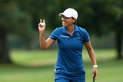 June 16, 2018 - Belmont, Michigan, United States - Lee-Anne Pace of South Africa acknowledges the gallery after her birdie on the 18th green during the third round of the Meijer LPGA Classic golf tournament at Blythefield Country Club in Belmont, MI, USA  Saturday, June 16, 2018. (Credit Image: © Jorge Lemus/NurPhoto via ZUMA Press)