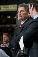 KELOWNA, CANADA - MARCH 15: Head coach Don Hay of the Vancouver Giants stands on the bench against the Kelowna Rockets on March 15, 2014 at Prospera Place in Kelowna, British Columbia, Canada.   (Photo by Marissa Baecker/Getty Images)  *** Local Caption *** Don Hay;