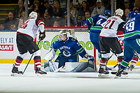 KELOWNA, BC - SEPTEMBER 29:  Jacob Markstrom #25 of the Vancouver Canucks defends the net against the Arizona Coyotes at Prospera Place on September 29, 2018 in Kelowna, Canada. (Photo by Marissa Baecker/NHLI via Getty Images)  *** Local Caption *** Jacob Markstrom