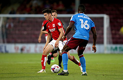 Callum O'Dowda of Bristol City takes on Hakeeb Adelakun of Scunthorpe United - Mandatory by-line: Robbie Stephenson/JMP - 23/08/2016 - FOOTBALL - Glanford Park - Scunthorpe, England - Scunthorpe United v Bristol City - EFL Cup second round