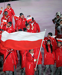 February 9, 2018 - PyeongChang, , South Korea - The Poland team marches in, led by flag bearer ZBIGNIEW BRODKA, during the Opening Ceremony for the 2018 Pyeongchang Winter Olympic Games, held at PyeongChang Olympic Stadium. (Credit Image: © Scott Mc Kiernan via ZUMA Wire)