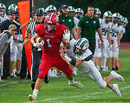 Neshaminy's Gavin O'Connor #1 runs with the ball and is fried out of bunds by Pennridge's Jack Garner #9 in the first quarter of the Pennridge at Neshaminy football game Friday, August 30, 2019 at Harry Frank Stadium in Langhorne, Pennsylvania. (WILLIAM THOMAS CAIN/PHOTOJOURNALIST)