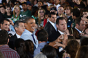 President Barack Obama greets the crowd after giving a speech at Ohio University in Athens, Ohio, Oct. 17, 2012.
