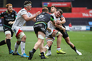 Ulster flanker Sean Reidy is tackled by Ospreys flanker Sam Underhill and Ospreys scrum half Rhys Webb during the Guinness Pro 12 2017 Round 21 match between Ospreys and Ulster at the Liberty Stadium, Swansea, Wales on 29 April 2017. Photo by Andrew Lewis.