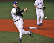 MANHATTAN, KS - APRIL 08:  Second basemen Brett Scott of the Kansas State Wildcats throws the ball to first base in the sixth inning against the Wichita State Wheat Shockers at Tointon Stadium in Manhattan, Kansas.  Wichita State defeated Kansas State 4-3.  (Photo by Peter Aiken/Getty Images)