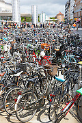 Many hundreds of bicycles in Copenhagen on Zealand, Denmark