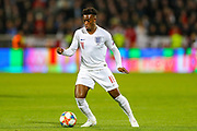 England midfielder Callum Hudson-Odoi on the ball during the UEFA European 2020 Qualifier match between Kosovo and England at the Fadil Vokrri Stadium, Pristina, Kosovo on 17 November 2019.