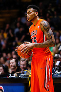 January 2nd, 2014:  Oregon State Beavers junior forward Eric Moreland (15) waits to inbound the ball in the first half of the NCAA Basketball game between the Oregon State Beavers and the University of Colorado Buffaloes at the Coors Events Center in Boulder, Colorado