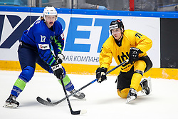 Jan Drozg of Slovenia and Daniel Bogdziul of Lithuania during ice hockey match between Slovenia and Lithuania at IIHF World Championship DIV. I Group A Kazakhstan 2019, on May 5, 2019 in Barys Arena, Nur-Sultan, Kazakhstan. Photo by Matic Klansek Velej / Sportida
