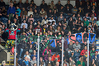 KELOWNA, CANADA - MARCH 16: Young fans ham it up with Rocky Raccoon, the mascot of the Kelowna Rockets  on March 16, 2019 at Prospera Place in Kelowna, British Columbia, Canada.  (Photo by Marissa Baecker/Shoot the Breeze)