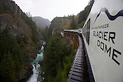 Cheakamus Canyon seen from aboard the Whistler Mountaineer, a luxurious excursion train linking Vancouver and Whistler.