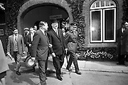 05/05/1965<br /> 05/05/1965<br /> 05 May 1965<br /> President Eamon de Valera visits the RDS Spring Show at Ballsbridge Dublin. The President in relaxed mood as he tours the show. Mr. J. Meenan, M.A. BL., Chairman of the Executive Committee of the RDS is on the left of the President.