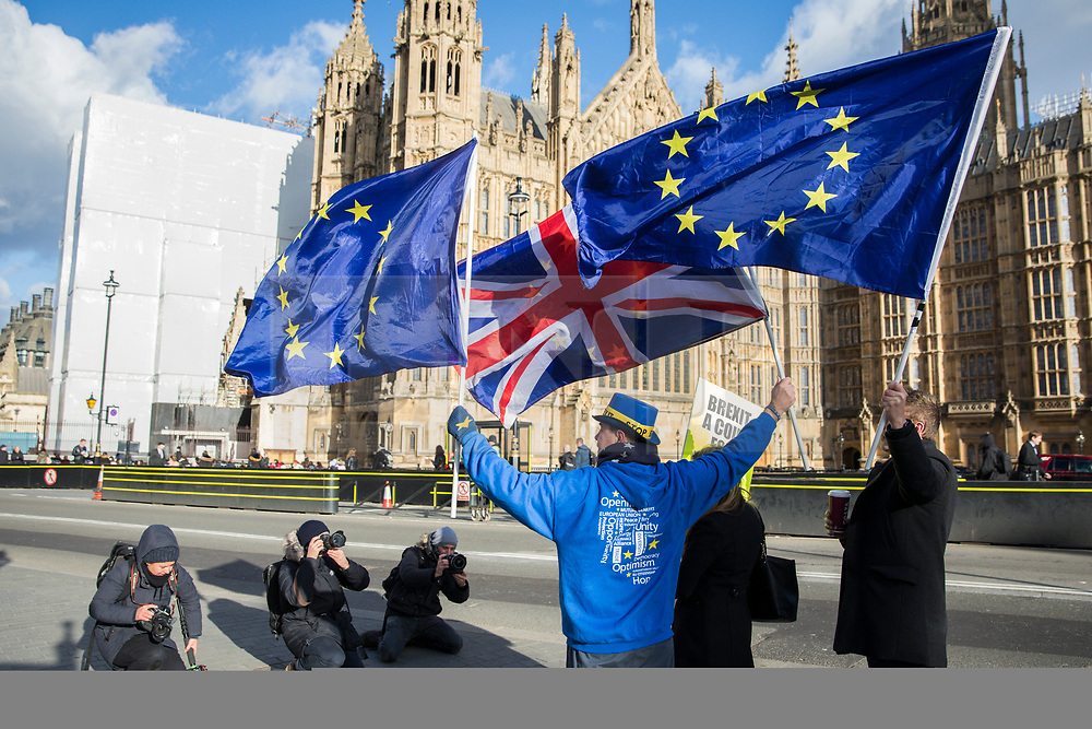 © Licensed to London News Pictures. 16/01/2018. London, UK.  Anti-Brexit protesters with EU and Union Jack flags outside Parliament in London as MPs prepare to debate the EU Withdrawal Bill. Photo credit: Rob Pinney/LNP
