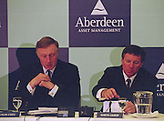 London. United Kingdom. Aberdeen Asset Management, announce, they are to sponsor the Annual Varsity Boat Race - between Oxford University BC and Cambridge University BC. at Tower Bridge. [Mandatory CreditPeter Spurrier/Intersport-images]  25.11.1999..People: Cambridge President, Brad CROMBIE, Oxford President Charlie HUMPHRIES, Martin GILBERT,  Chief Executive Aberdeen Asset Management, and Boat race Representative Duncan CLEGG Boat Race Organiser. ..Rowing Varsity 2012 011053.jpg..Scanned in 2012 so has 2012 file No.