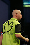 Michael van Gerwen celebrates by pouring water on his head during the World Darts Championships 2018 at Alexandra Palace, London, United Kingdom on 29 December 2018.