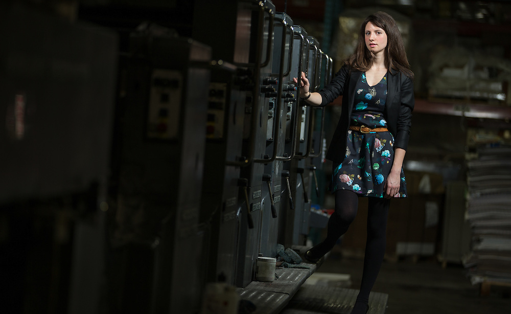 London, Ontario ---2/21/2014--- Entrepreneur Sarah Landstreet, owner of Georgette Packaging, a packaging company which caters to small businesses, stands by the printing presses in her printer's facility in London, Ontario, February 21, 2013.<br /> GEOFF ROBINS The Globe and Mail