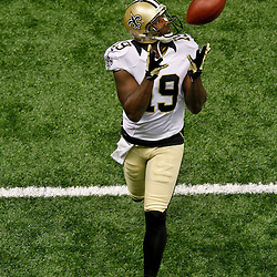 September 23, 2012; New Orleans, LA, USA;  New Orleans Saints wide receiver Devery Henderson (19) prior to kickoff of a game against the Kansas City Chiefs at the Mercedes-Benz Superdome. Mandatory Credit: Derick E. Hingle-US PRESSWIRE