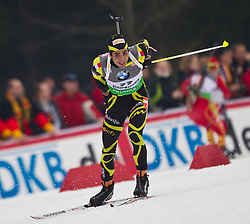 14.01.2011, Chiemgau Arena, Ruhpolding, GER, IBU Biathlon Worldcup, Ruhpolding, Sprint Men, im Bild zweiter Martin Fourcade (FRA) // Martin Fourcade (FRA) second place during IBU Biathlon World Cup in Ruhpolding, Germany, EXPA Pictures © 2011, PhotoCredit: EXPA/ J. Feichter