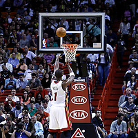 17 January 2012: Miami Heat power forward Chris Bosh (1) is seen at the free throw line during the Miami Heat 120-98 victory over the San Antonio Spurs at the AmericanAirlines Arena, Miami, Florida, USA.