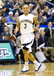 February 13, 2010; Berkeley, CA, USA;  California Golden Bears guard Jerome Randle (3) reacts after hitting a three point basket against the Washington State Cougars during the first half at the Haas Pavilion. California defeated Washington State 86-70.