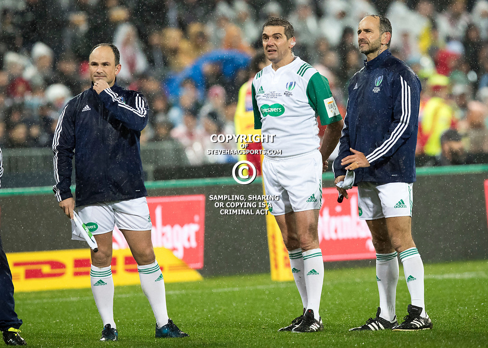 Jaco Peyper (South Africa) J&eacute;r&ocirc;me Garc&egrave;s (France) Romain Poite (France) <br /> during game 9 of the British and Irish Lions 2017 Tour of New Zealand, the second Test match between  The All Blacks and British and Irish Lions, Westpac Stadium, Wellington, Saturday 1st July 2017<br /> (Photo by Kevin Booth Steve Haag Sports)<br /> <br /> Images for social media must have consent from Steve Haag