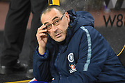 Chelsea Manager Mourizio Sarri during the Premier League match between Wolverhampton Wanderers and Chelsea at Molineux, Wolverhampton, England on 5 December 2018.