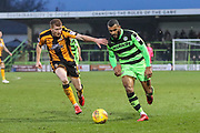 Forest Green Rovers Dan Wishart(17) on the ball with Cambridge United's Brad Halliday(2) during the EFL Sky Bet League 2 match between Forest Green Rovers and Cambridge United at the New Lawn, Forest Green, United Kingdom on 20 January 2018. Photo by Shane Healey.
