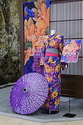 Matsuyama, September 3 2015 - Dogo Onsen, Japan's oldest hot spring, celebrate the 120th anniversary in 2014 by creating an art festival. The artist invited in 2015 is Japanese photographer Mika NINAGAWA.<br /> Rental kimono designed by MIka NINAGAWA.