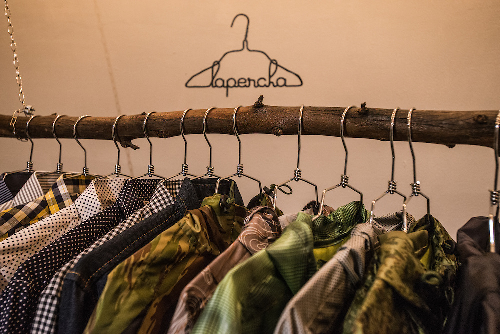 BOGOTA, COLOMBIA - OCTOBER 24, 2015:  LA PERCHA - a shop in the chic Quinta Camacho area that sells clothes, jewelry and other accessories by Colombian designers. Some pieces, like the sleek work and day bags by two-year-old Bogotá brand Mago Maga, are pure modernity, while patterned jackets by Hipolita have an indigenous influence in their embroidery. (Calle 70 #10A-25)  (facebook.com/LaperchaBogota) PHOTO: Meridith Kohut for The New York Times