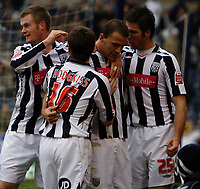 Photo: Steve Bond/Sportsbeat Images.<br /> West Bromwich Albion v Charlton Athletic. Coca Cola Championship. 15/12/2007. Roman Bednar (CR) is congratulated by Jared Hodgkiss (CL), Chris Brunt (L) and Bostjan Cesar (R)