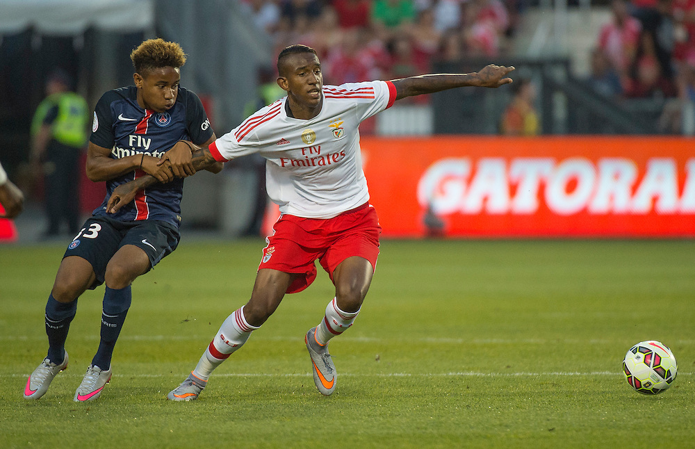 Paris St. Germain's Talisca (right) and SL Benfica's Christopher Nkunku in the International Champions Cup in Toronto.