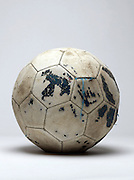 old dilapidated leather football