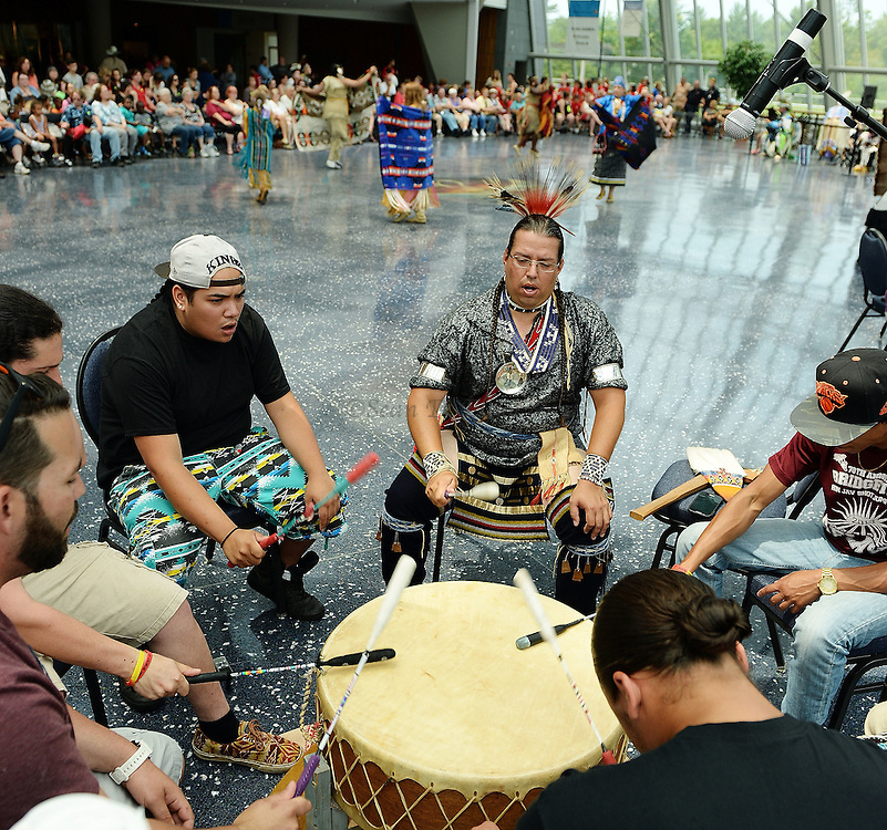 7/7/16 :: REGION :: STAND ALONE :: Local native drum group All Nations provides the music and beat for the women's Northern Traditional dance at the annual Educational Powwow at the Mashantucket Pequot Museum and Research Center Thursday, July 7, 2016. The Educational Powwow is a narrated exhibition showcasing Native American dancers and the significance of this cultural gathering for indigenous people. The event was free with museum admission. Eastern woodland cuisine was offered in the restaurant and native artists were set up demonstrating and selling their crafts. (Sean D. Elliot/The Day)