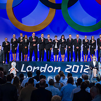 Sportsmen attend a swearing in ceremony of the Hungarian Olympic Team that will travel to London in Budapest, Hungary on June 22, 2012. ATTILA VOLGYI