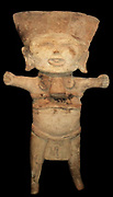 A laughing face representing a child sacrificed to the rain god Tlaloc. Earthenware Veracruz culture, 300 - 1200 AD, Mexico