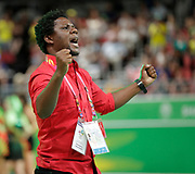 8th April 2018, Gold Coast Convention and Exhibition Centre, Gold Coast, Australia; Commonwealth Games day 4; Netball Malawi versus New Zealand Malawais coach Whyte Mulilima celebrates his teams win over New Zealand 57-53