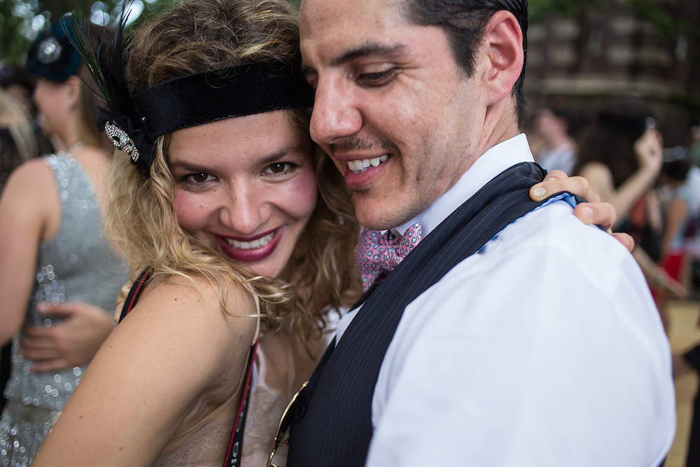 A couple in period dress dancing to the Dreamland Orchestra at the Jazz Age Lawn Party.