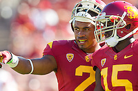 01 September 2012: Wide receiver (2) Robert Woods of the USC Trojans speaks to (15) Nelson Agholor during warmups before USC's  49-10 victory over the Hawaii Warriors at the Los Angeles Memorial Coliseum in Los Angeles, CA.