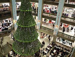 Interior of Nordiska Kompaniet or NK department store at Christmas in central Stockholm Sweden