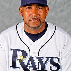 February 29, 2012; Port Charlotte, FL, USA; Tampa Bay Rays catcher Jose Molina (28) poses for a portrait during photo day at Charlotte Sports Park.  Mandatory Credit: Derick E. Hingle-US PRESSWIRE