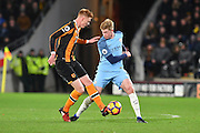 Hull City midfielder Sam Clucas (11) and Kevin De Bruyne (17) Manchester City midfielder  during the Premier League match between Hull City and Manchester City at the KCOM Stadium, Kingston upon Hull, England on 26 December 2016. Photo by Ian Lyall.