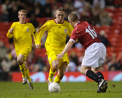 Manchester, England - Thursday, April 26, 2007: Liverpool's Lee Woodward in action against Manchester United's Scott Moffatt during the FA Youth Cup Final 2nd Leg against Liverpool at Old Trafford. (Pic by David Rawcliffe/Propaganda)