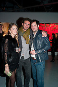 EUGENIE NIARCHOS; STAVROS NIARCHOS; NICHOLAS POL, Private view of the exhibition ' Mother of Pouacrus' by Nicholas Pol. Presented by Vladimir Restoin Roitfeld. The Old Dairy, Wakefield St.  London. 14 October 2010. <br /> <br /> -DO NOT ARCHIVE-© Copyright Photograph by Dafydd Jones. 248 Clapham Rd. London SW9 0PZ. Tel 0207 820 0771. www.dafjones.com.