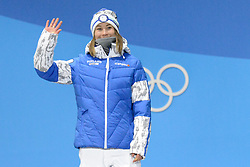 February 12, 2018 - Pyeongchang, South Korea - ENNI RUKAJARVI of Finland on the medals podium for the snowboard Ladies' Slopestyle event in the PyeongChang Olympic games. (Credit Image: © Christopher Levy via ZUMA Wire)