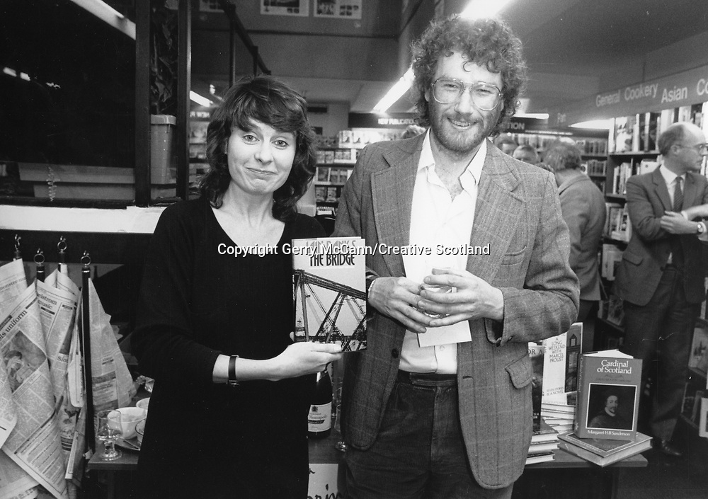 Sheena McDonald and Iain Banks Spring 1987<br /> <br /> Picture by Gerry McCann/Creative Scotland/Writer Pictures<br /> <br /> Picture from the Creative Scotland collection documenting 25 years of Scottish literary prizes and events.<br /> <br /> Writer Pictures does not and cannot claim the copyright for the images in this collection. <br /> <br /> However Writer Pictures will happily assist  where possible in the clearance of all necessary rights for editorial use of this image.<br /> <br /> If you are the copyright holder and would like to be properly accredited for the work and any associated royalties or you would like the images to be removed please get in touch.